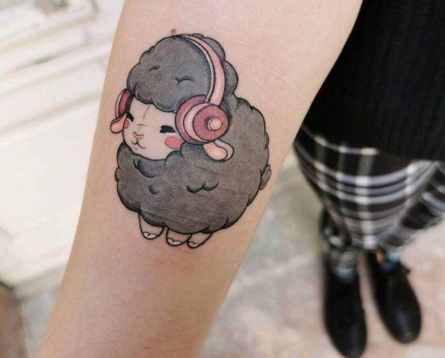 'Sheep wearing Headphone' Tattoo