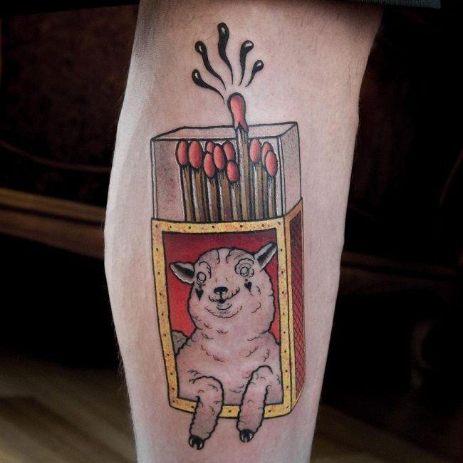 'Sheep with Matchbox' Tattoo
