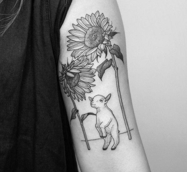 'Sheep with Sunflowers' Tattoo