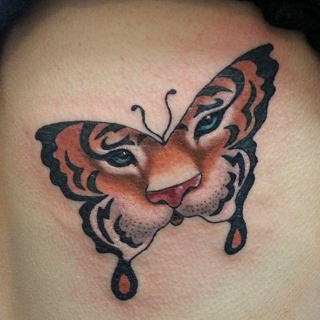 Tiger Butterfly Tattoo
