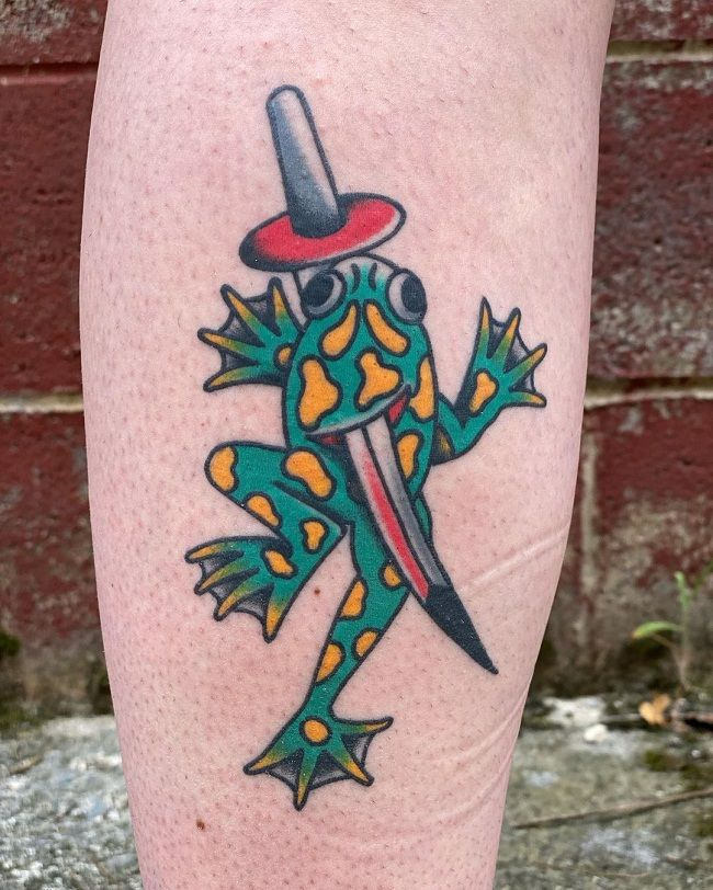 Traditional Style Frog Tattoo