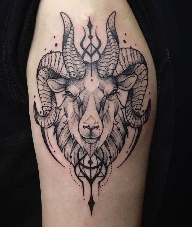 'Trident on a Goat Head' Tattoo
