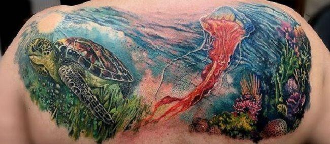 Turtle-Jellyfish Tattoo