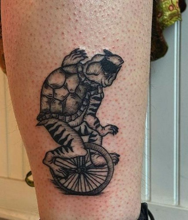 'Turtle riding Unicycle' Tattoo