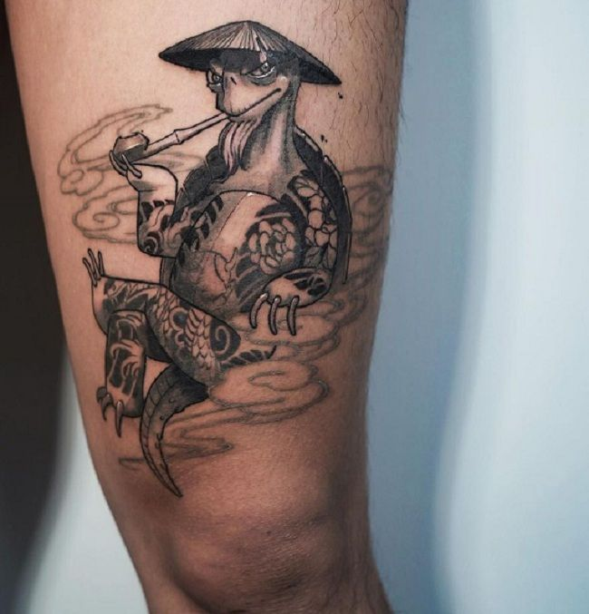 'Turtle wearing Japanese Hat and smoking a Cigar' Tattoo