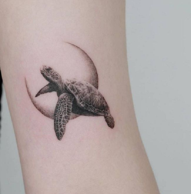 'Turtle with the Crescent moon' Tattoo