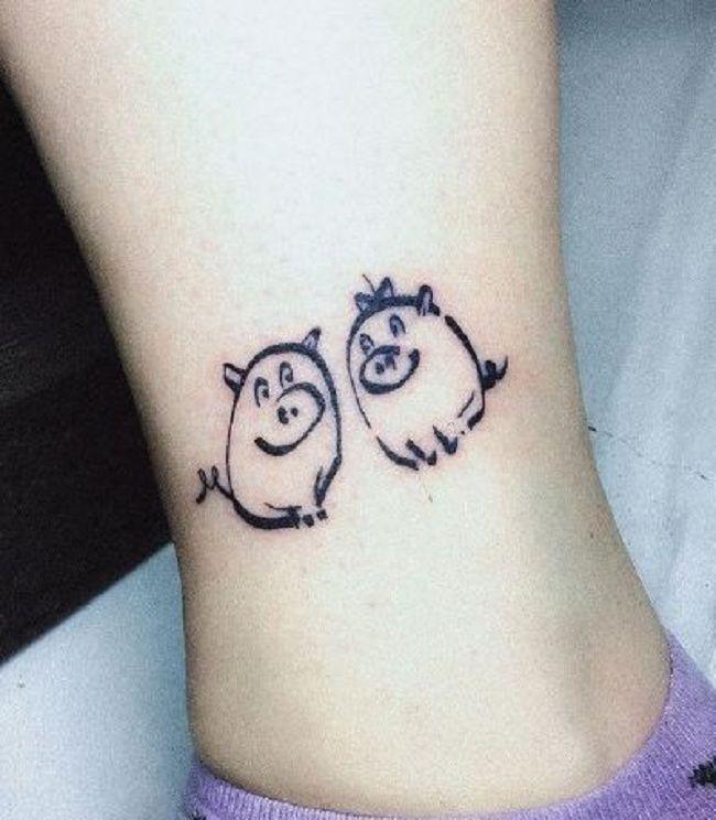 Twin Pig Tattoo