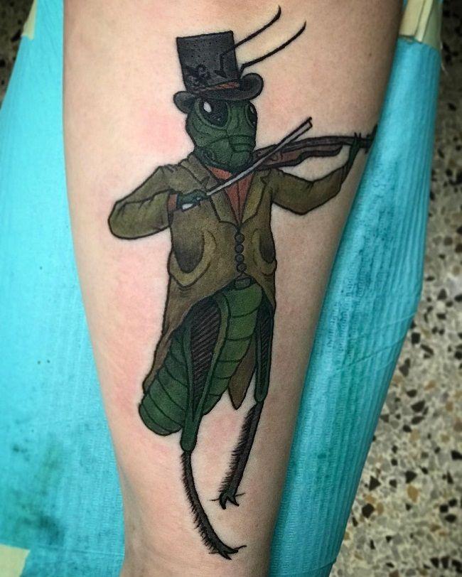Victorian Vintage Gentleman Grasshopper Tattoo