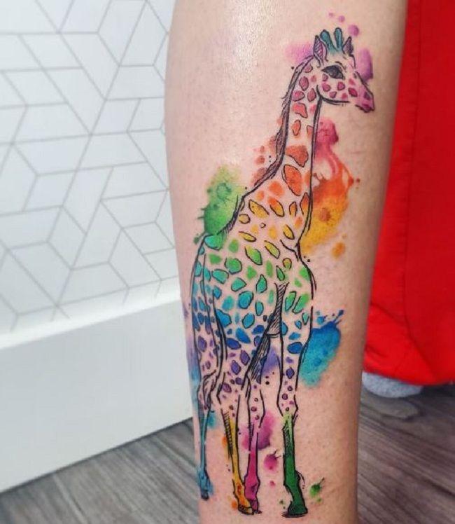 Watercolor Giraffe Tattoo