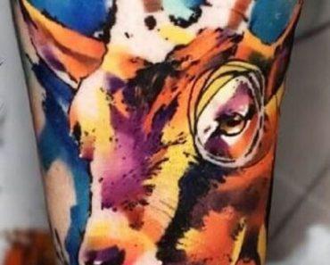 Watercolor Goat Tattoo
