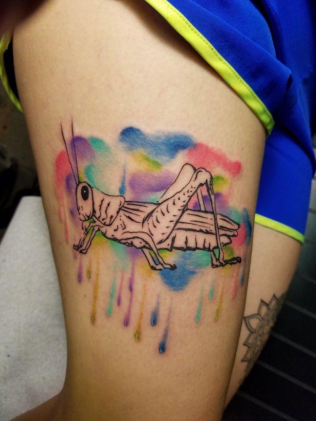 Watercolor Grasshopper Tattoo