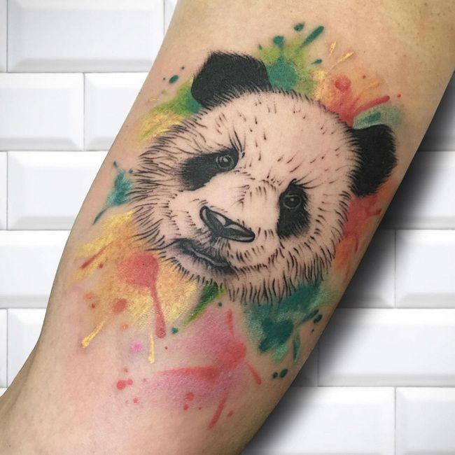 Watercolor Sketch Panda Tattoo