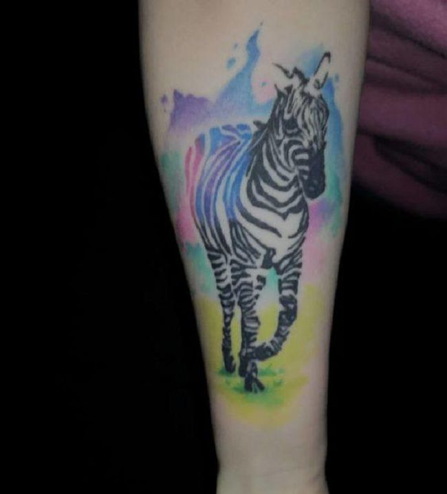 Watercolor Zebra Tattoo