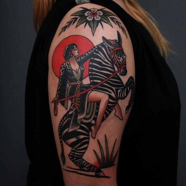 'Women riding a Zebra' Tattoo