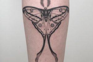 12 Black and White Ink luna Moth Tattoo