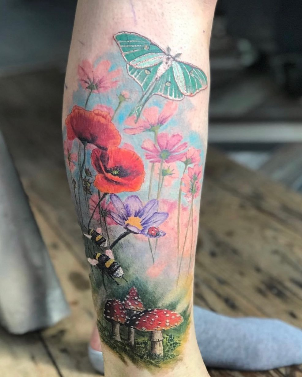 14 Nature Scenery Flowers and Luna Moth Tattoo