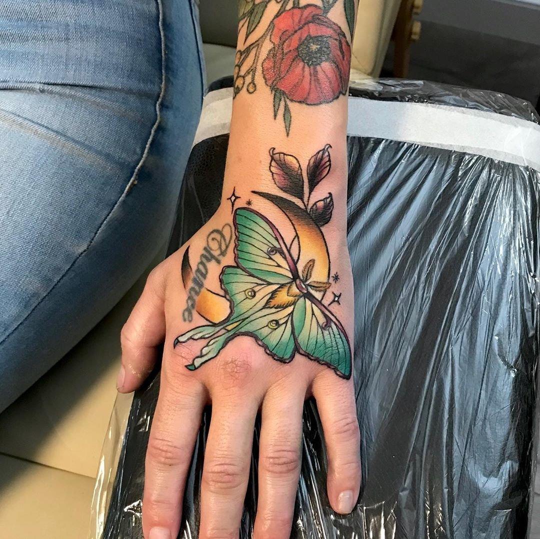 15 Crescent Moon and Lunar Moth Art Hand Tattoo