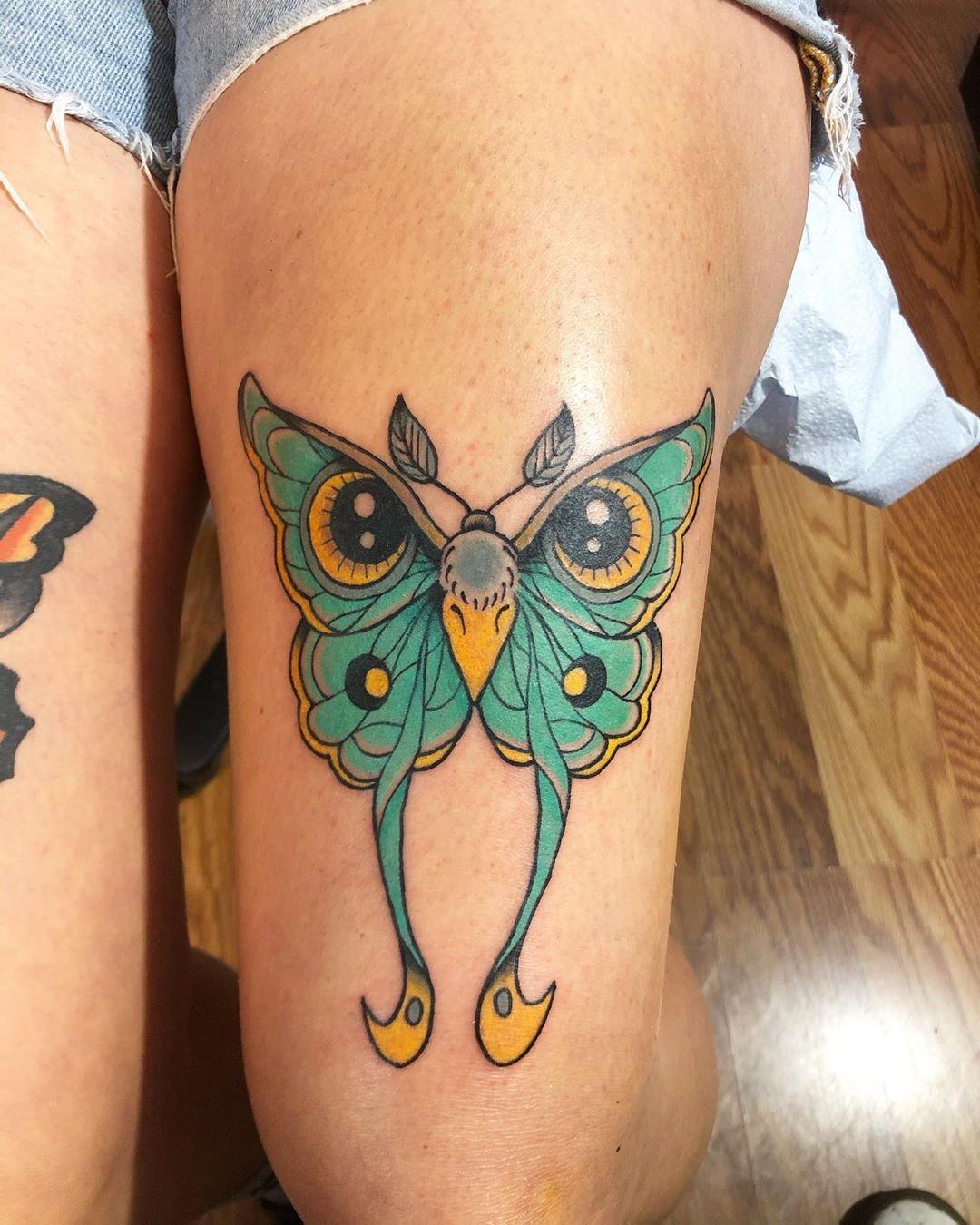16 Unique Owl and Luna Moth Mash up Tattoo Art 1