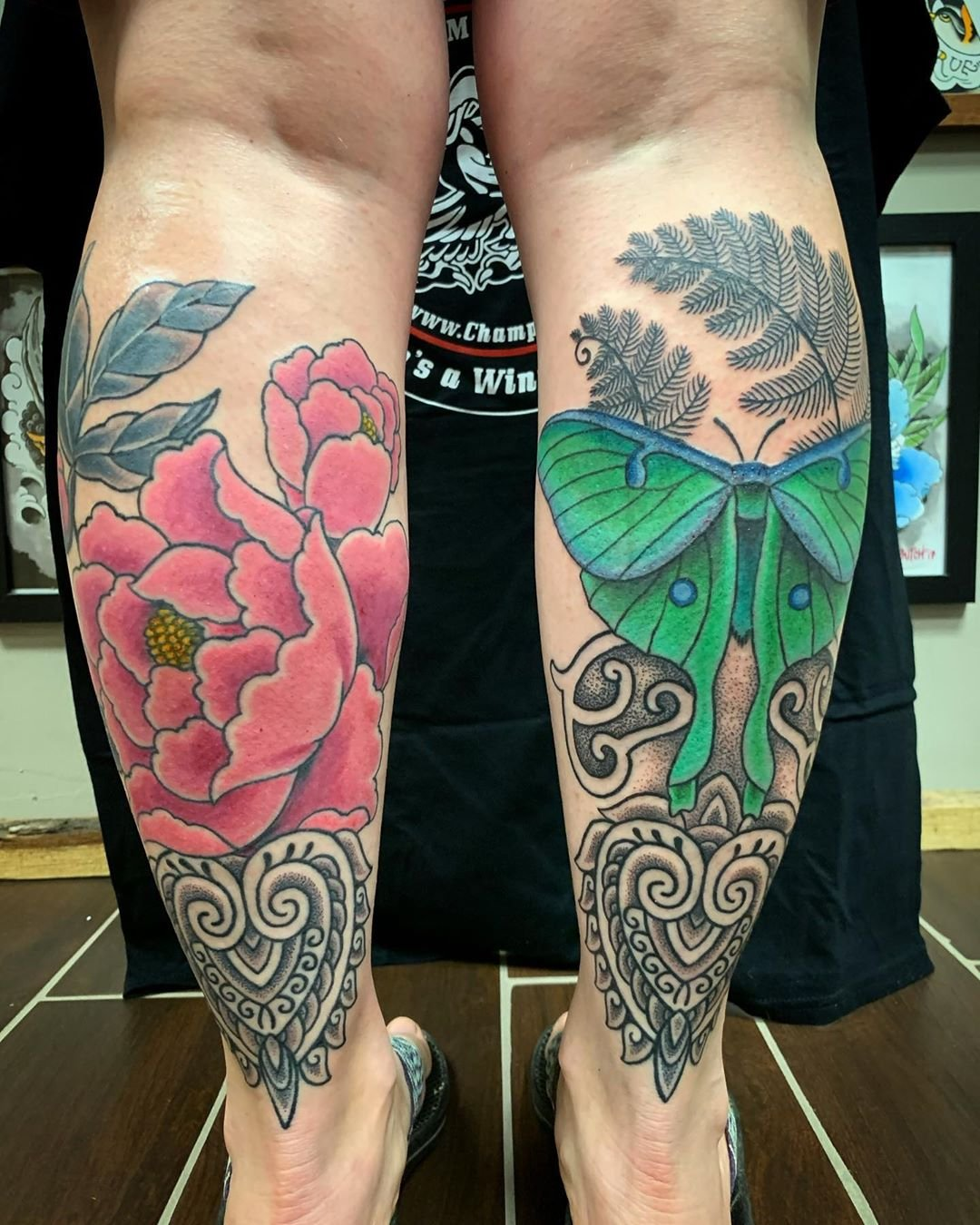 18 Luna Moth and Peony Calf Muscle Tattoo