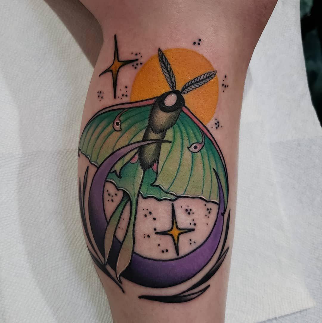3 Fun Design Moon Moth Tattoo Art