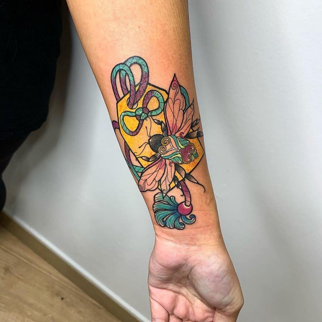 3 Geometric moth tattoo
