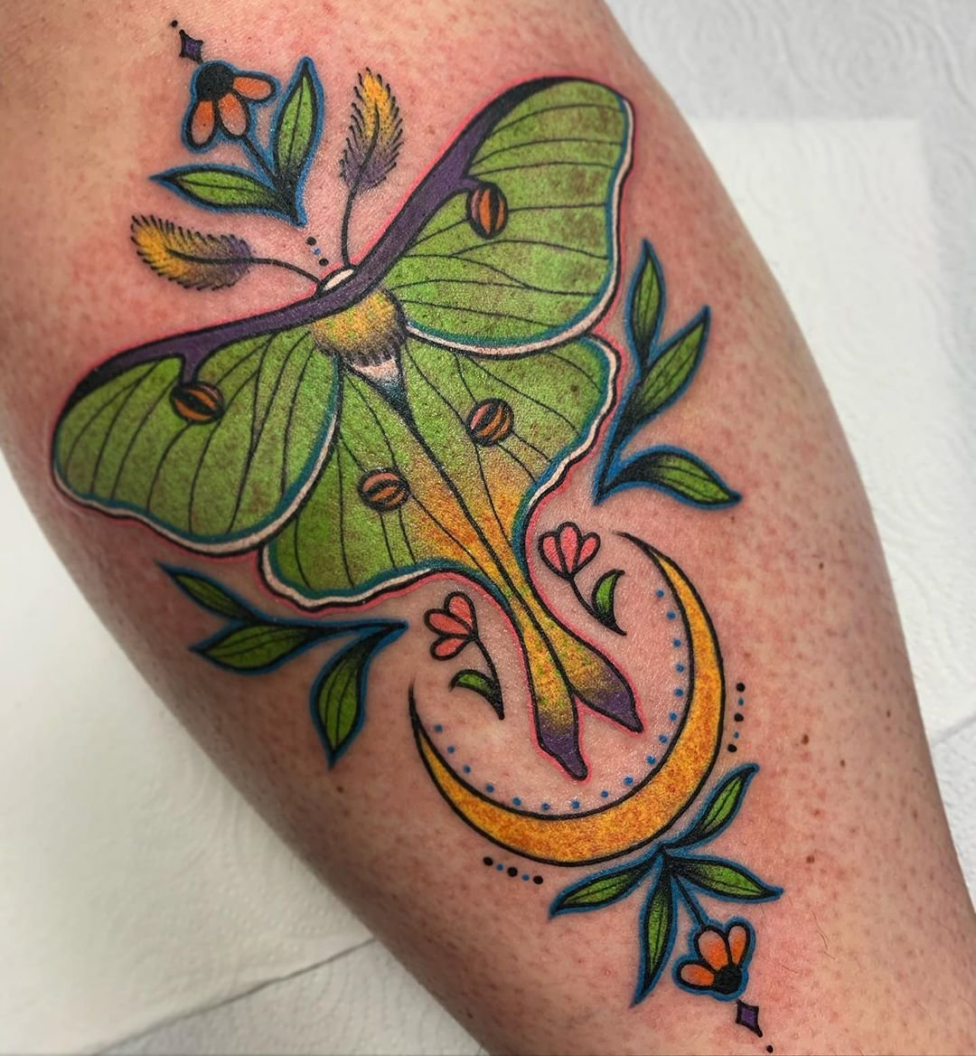 4 Ornamental Moon Moth Large Tattoo Design