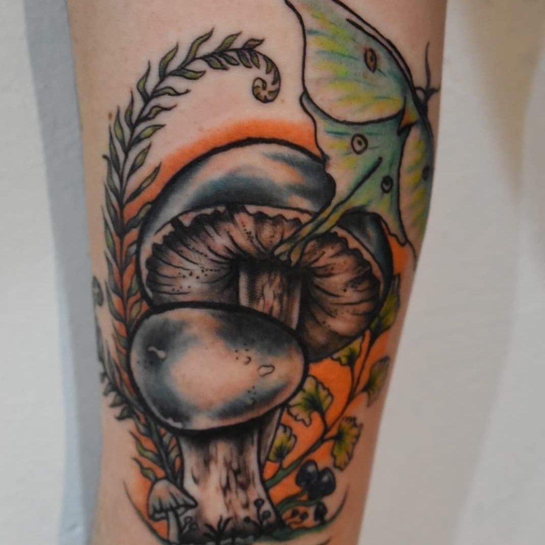 5 Moon Moth with Mushrooms and Plant Life Tattoo idea