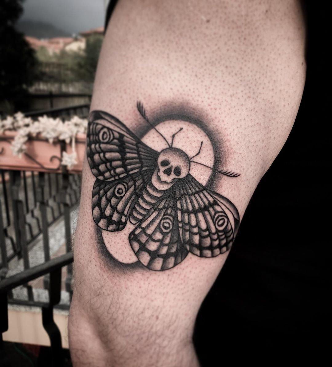 5 Moth chest tattoo design