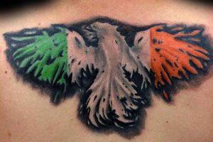 5 eagle irish mens flag upper back tattoo