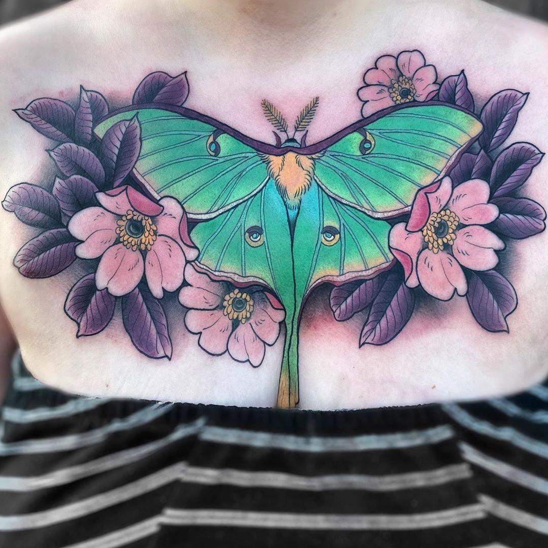 6 Large Moon Moth with Sakura Flowers Chest Tattoo