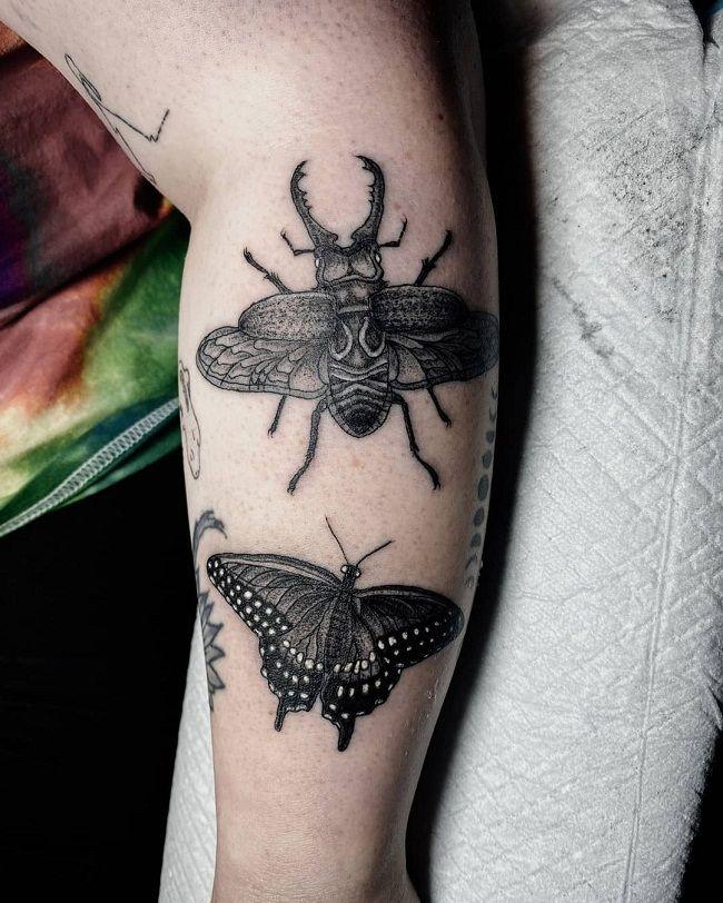 Beetle-Butterfly Tattoo