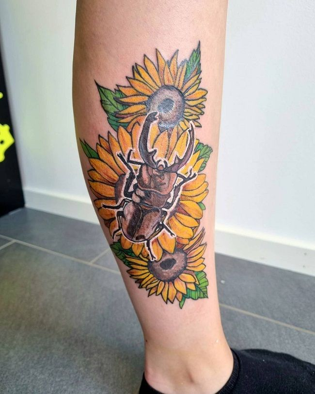 'Beetle on Sunflower' Tattoo