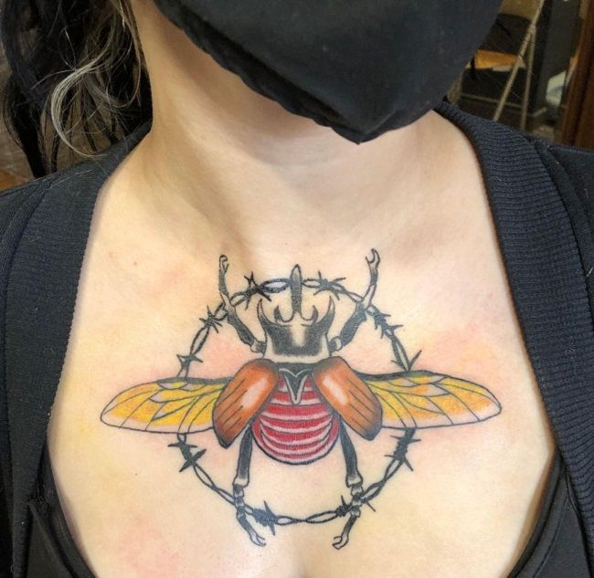 'Beetle with Barbed Wire' Tattoo