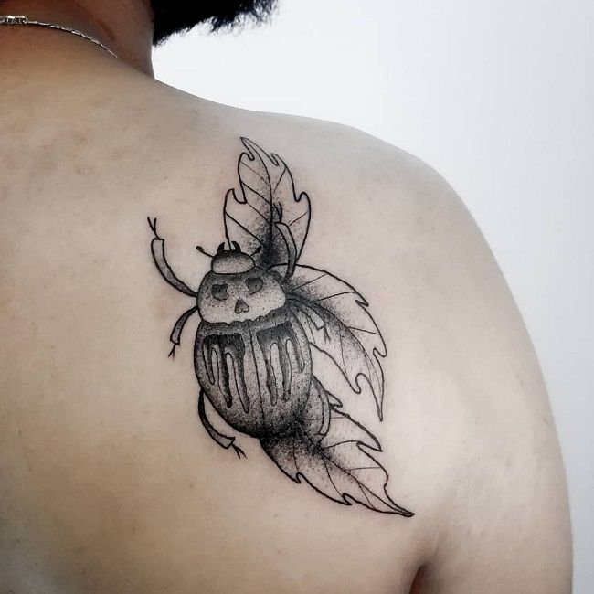 'Beetle with the Leaf' Tattoo