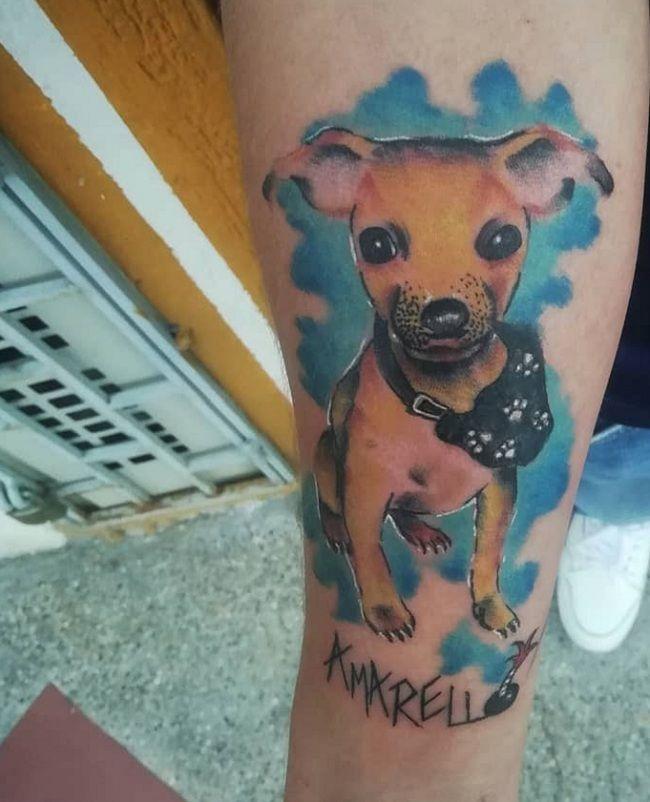 Blue-Theme Chihuahua Tattoo