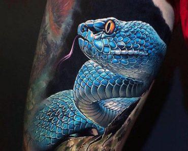 Blue-Theme Cobra Tattoo