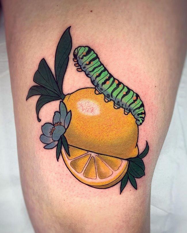 'Caterpillar sitting on a Lemon' Tattoo