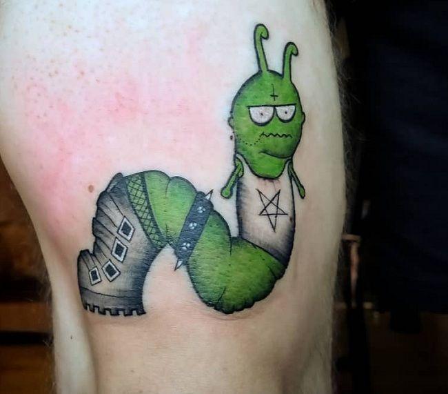 'Caterpillar wearing Shirt and a Shoe' Tattoo