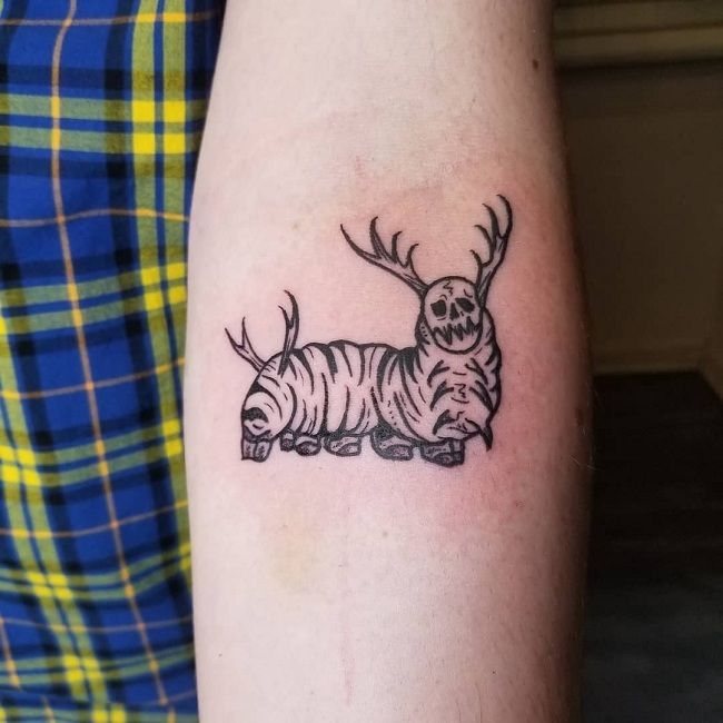 'Caterpillar with Horns and a Devil Face' Tattoo