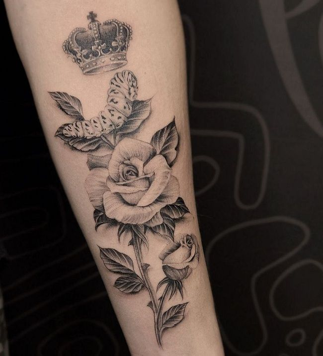 'Caterpillar with Rose and a Crown' Tattoo