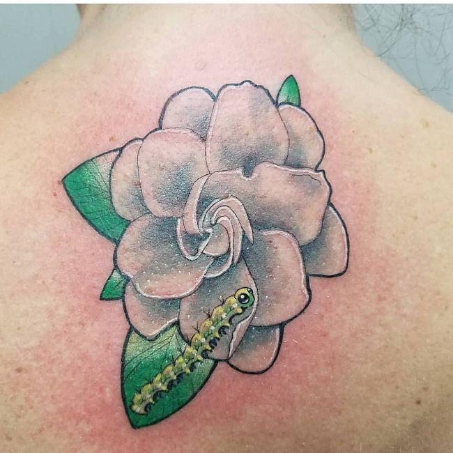 'Caterpillar with a Gardenia Flower' Tattoo