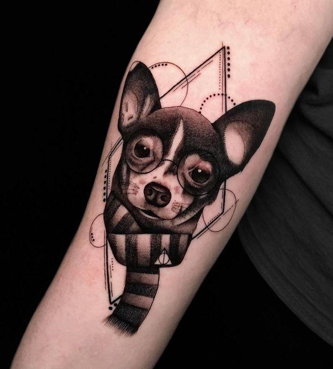 'Chihuahua wearing Scarf and Eye-Glasses' Tattoo