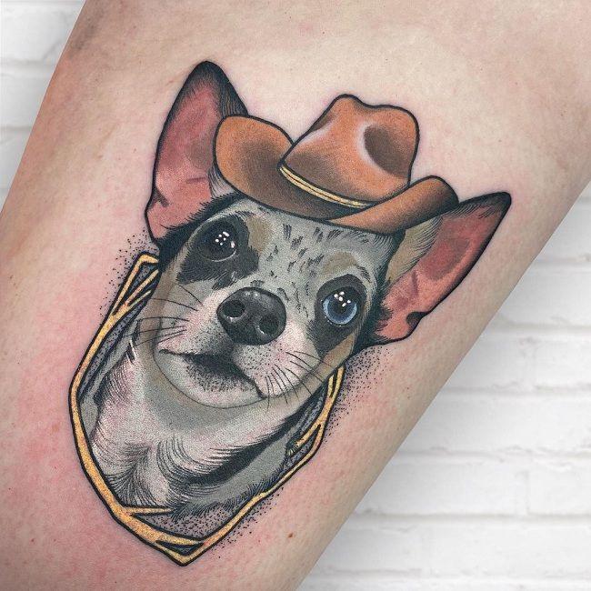 'Chihuahua wearing a Hat' Tattoo