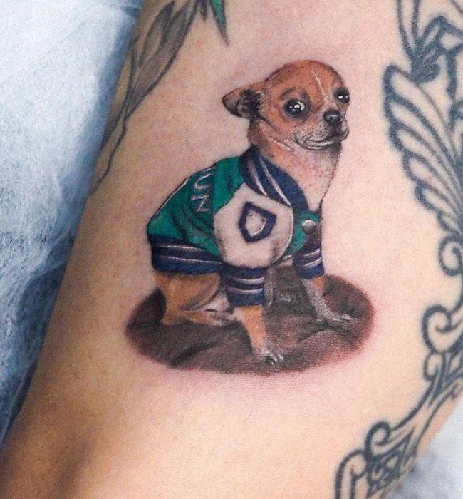 'Chihuahua wearing a Jacket' Tattoo