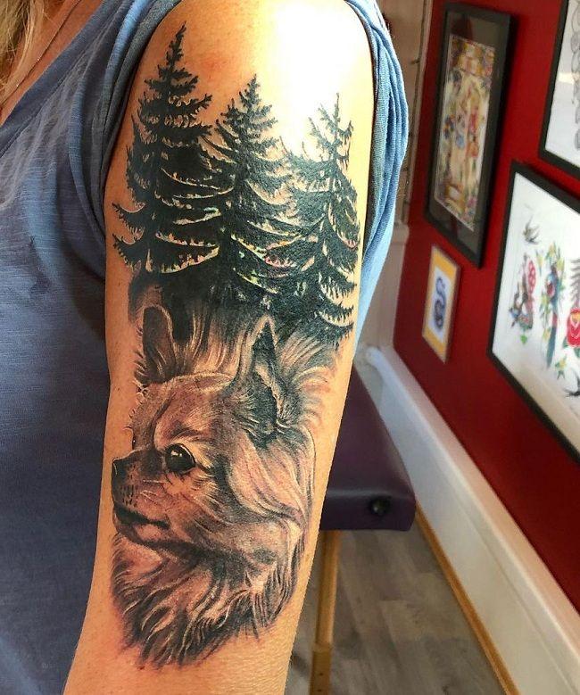 'Chihuahua with Asoka Tree' Tattoo