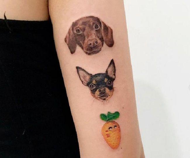 'Chihuahua with Dachshund and Mango' Tattoo