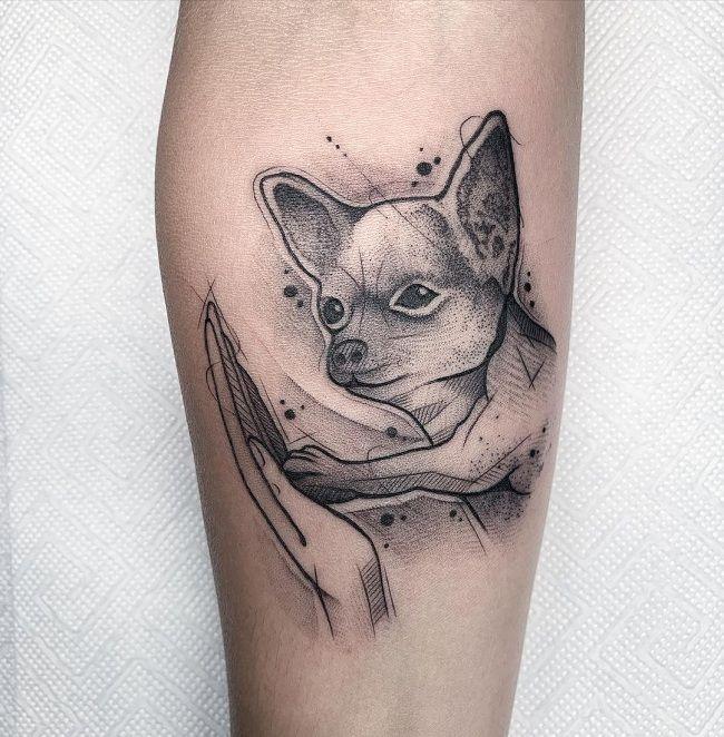 'Chihuahua with Human Hand' Tattoo