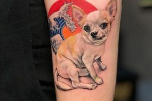 'Chihuahua with Wave and Sun' Tattoo