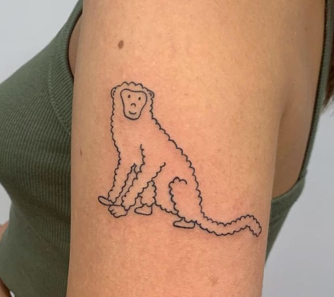 Curvy Outlined Monkey Tattoo