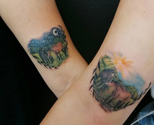 'Day and Night-Theme Horse' Tattoo